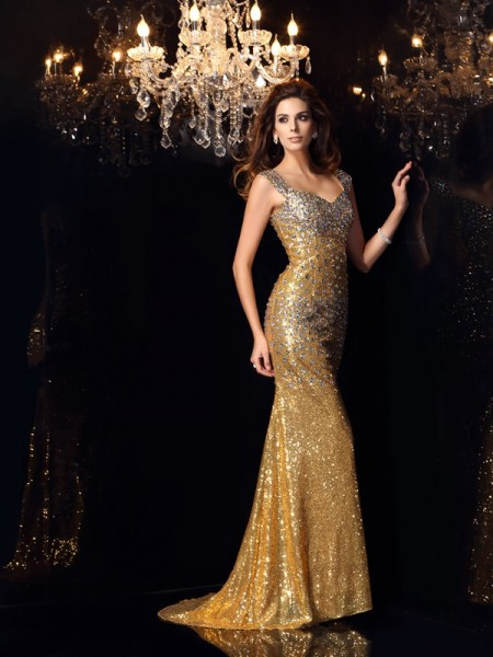 Trumpet/Mermaid Straps Long Sequins Dress