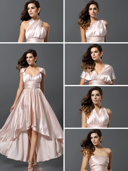 Sheath/Column High Low Silk like Satin Bridesmaid Dress