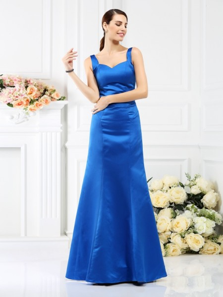 Sheath/Column Straps Long Satin Bridesmaid Dress