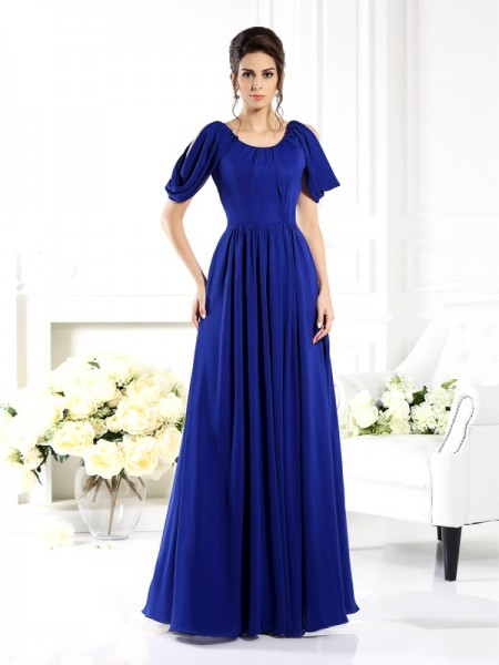 A-Line/Princess Scoop Mother of the Bride Dress with Long Chiffon