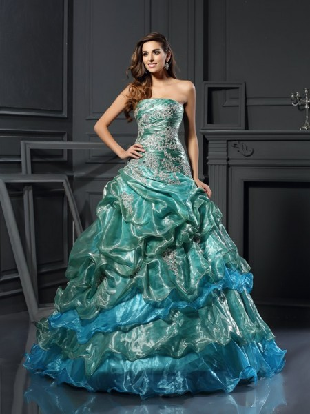 Ball Gown Sweetheart Applique Long Tulle Quinceanera Dress