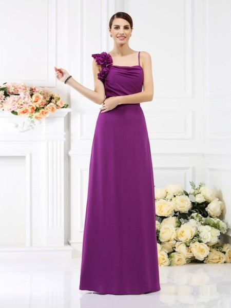 Sheath/Column Spaghetti Straps Bridesmaid Dress with Long Chiffon