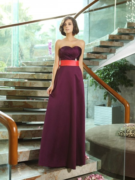 A-Line/Princess Sweetheart Long Satin Bridesmaid Dress
