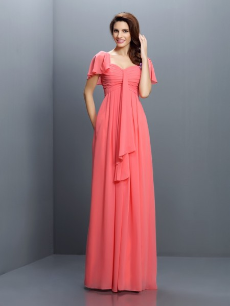 A-Line/Princess Sweetheart Pleats 1/2 Sleeves Bridesmaid Dress with Long Chiffon