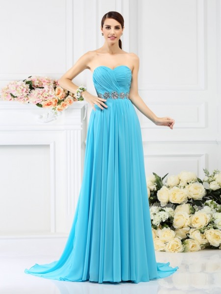 A-Line/Princess Sweetheart Beading Pleats Bridesmaid Dress with Long Chiffon