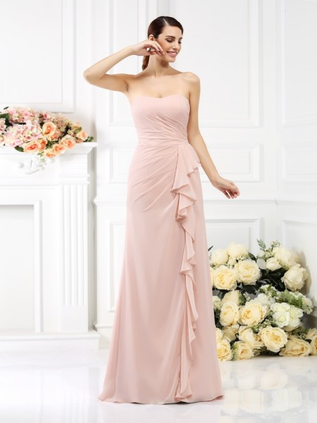 A-Line/Princess Strapless Pleats Bridesmaid Dress with Long Chiffon