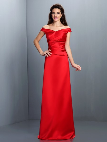 Sheath/Column Long Satin Bridesmaid Dress
