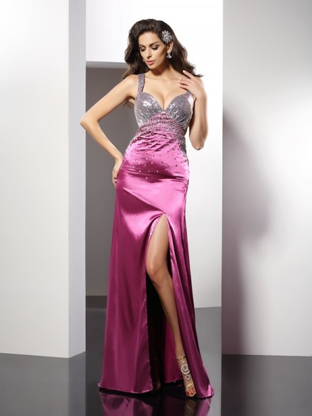 A-Line/Princess Straps Beading Long Elastic Woven Satin Dress