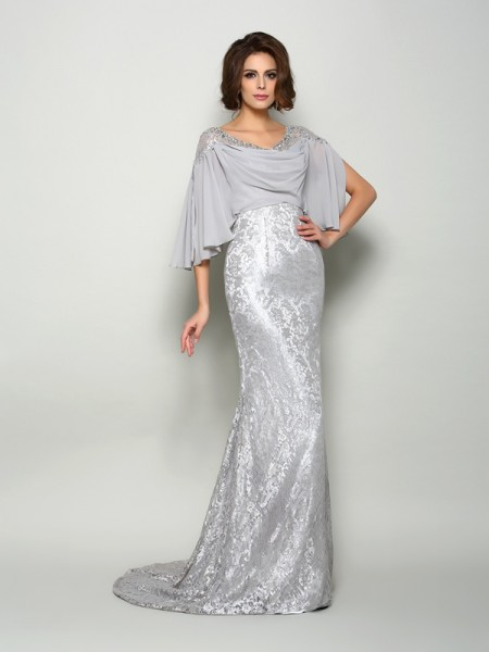 Trumpet/Mermaid Scoop Lace 1/2 Sleeves Mother of the Bride Dress with Long Chiffon