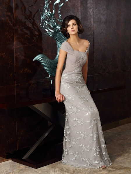A-Line/Princess Applique Mother of the Bride Dress with Long Chiffon