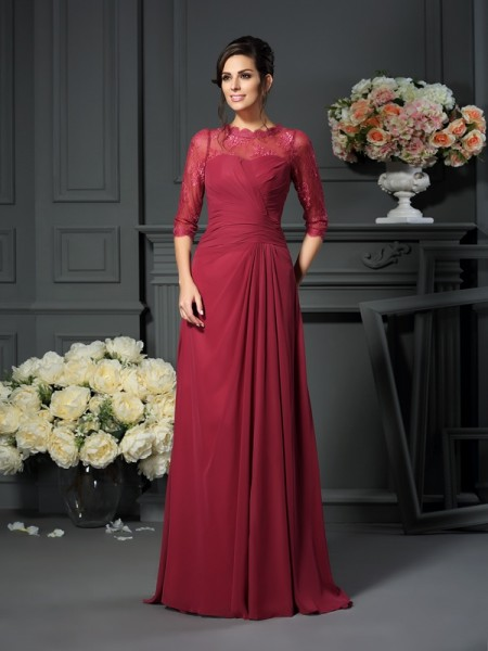 A-Line/Princess Scoop Applique 1/2 Sleeves Mother of the Bride Dress with Long Chiffon