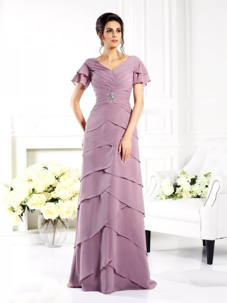 Sheath/Column V-neck Short Sleeves Mother of the Bride Dress with Long Chiffon