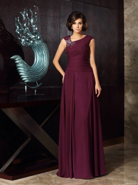 A-Line/Princess Beading Mother of the Bride Dress with Long Chiffon