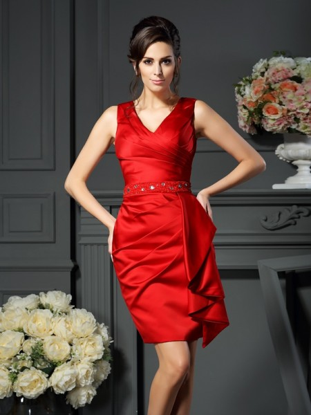 Sheath/Column V-neck Ruched Short Satin Mother of the Bride Dress