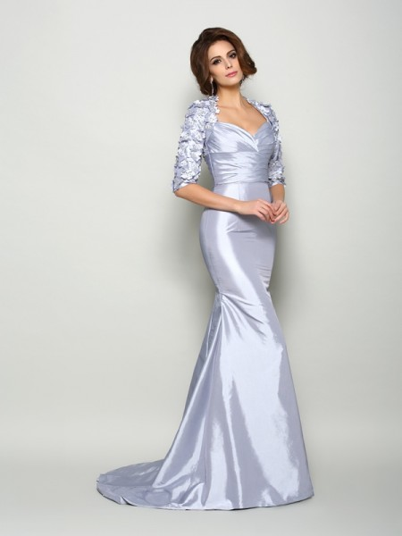Trumpet/Mermaid Sweetheart Applique 1/2 Sleeves Long Taffeta Mother of the Bride Dress