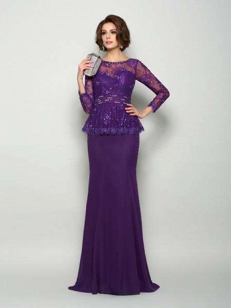 Trumpet/Mermaid Scoop Beading Long Sleeves Mother of the Bride Dress with Long Chiffon