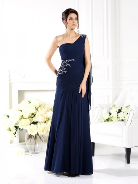 Sheath/Column One-Shoulder Mother of the Bride Dress with Long Chiffon