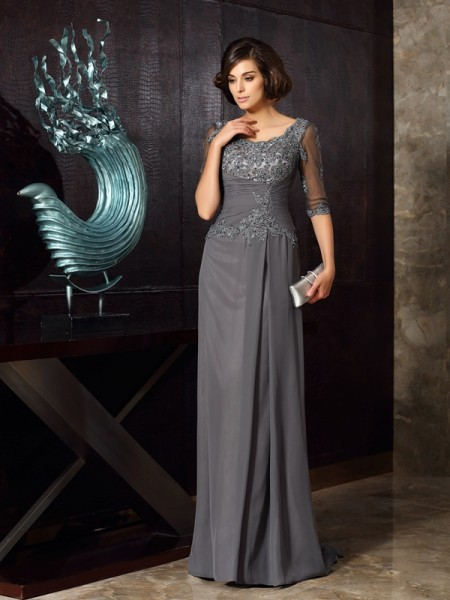 A-Line/Princess Scoop Beading 1/2 Sleeves Mother of the Bride Dress with Long Chiffon