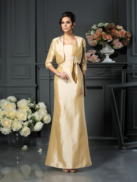Sheath/Column Straps Bowknot Long Taffeta Mother of the Bride Dress