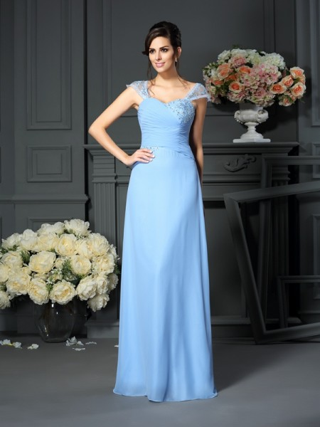 Sheath/Column Straps Pleats Mother of the Bride Dress with Long Chiffon