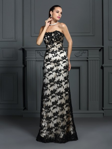 Sheath/Column Strapless Lace Long Elastic Woven Satin Dress