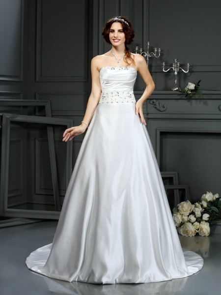 A-Line/Princess Strapless Beading Long Satin Wedding Dress
