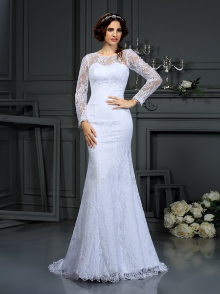 Sheath/Column Scoop Lace Long Sleeves Long Satin Wedding Dress