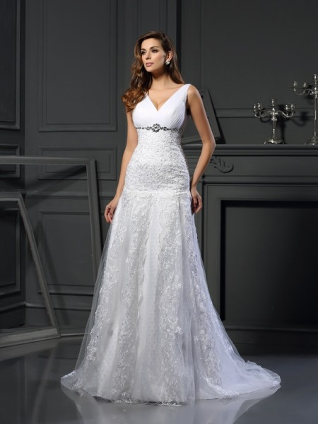 A-Line/Princess V-neck Beading Long Satin Wedding Dress