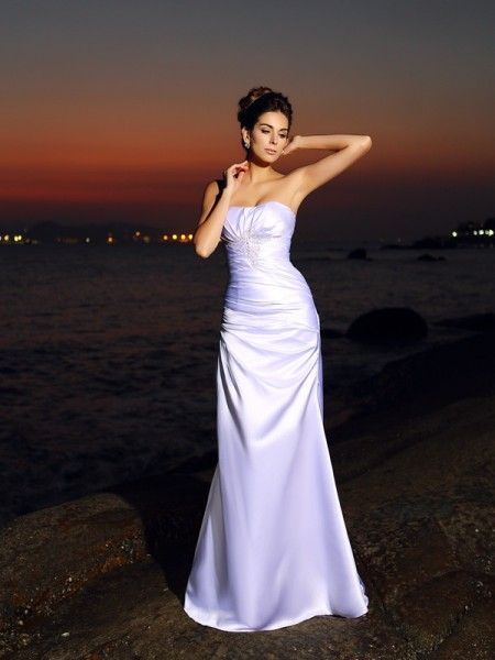 Trumpet/Mermaid Sweetheart Long Elastic Woven Satin Beach Wedding Dress