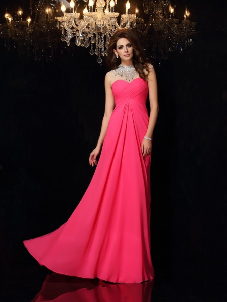 A-Line/Princess High Neck Ruched Dress with Long Chiffon