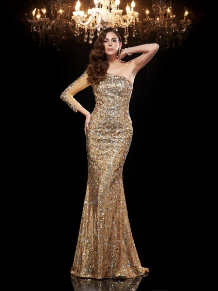 Trumpet/Mermaid One-Shoulder Beading Long Sequins Dress