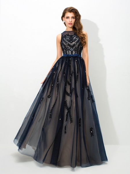 A-Line/Princess Sheer Neck Applique Long Tulle Dress