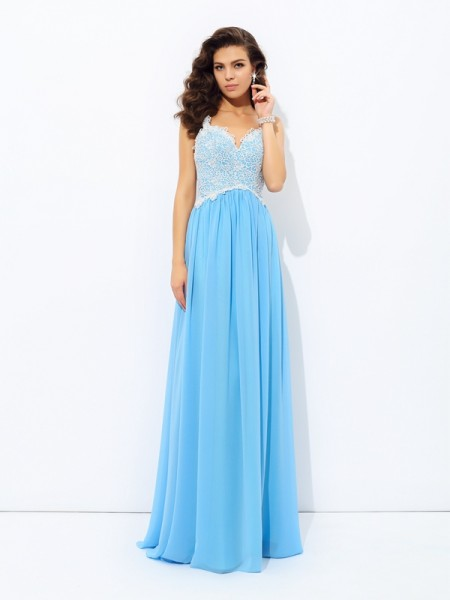 A-Line/Princess V-neck Lace Dress with Long Chiffon