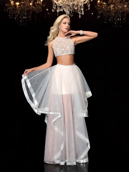 A-Line/Princess Scoop Applique Long Tulle Two Piece Dress