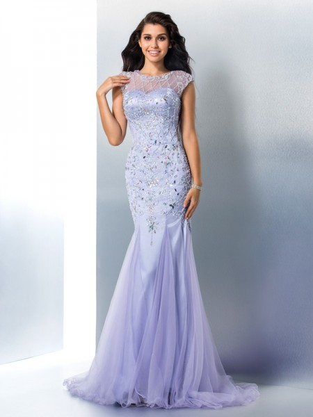 Trumpet/Mermaid Sheer Neck Beading Satin Dress