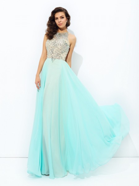 A-line/Princess Jewel Beading Chiffon Dress