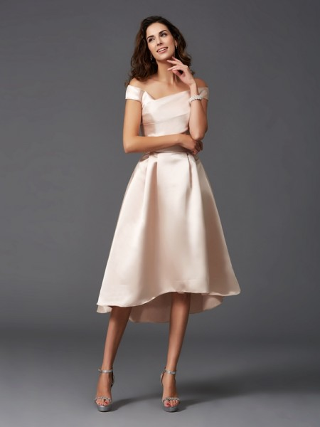A-Line/Princess Off-the-Shoulder High Low Satin Bridesmaid Dress