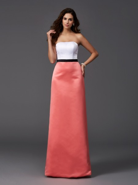 A-Line/Princess Strapless Satin Bridesmaid Dress