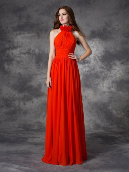 A-line/Princess Halter Chiffon Bridesmaid Dress