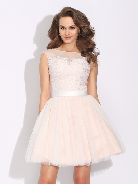 A-Line/Princess Bateau Ruffles Short Sleeves Short Net Dress