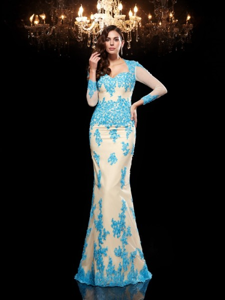 Trumpet/Mermaid Sweetheart Applique 3/4 Sleeves Long Net Dress