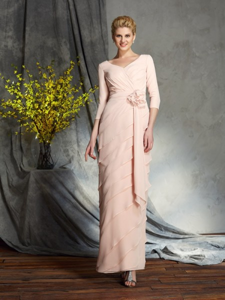 Sheath/Column V-neck 3/4 Sleeves Chiffon Mother of the Bride Dress