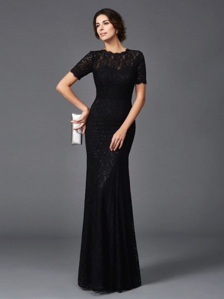 Sheath/Column Jewel Lace Short Sleeves Elastic Woven Satin Mother of the Bride Dress