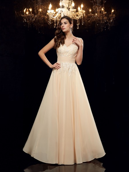 A-Line/Princess Straps Applique Chiffon Mother of the Bride Dress