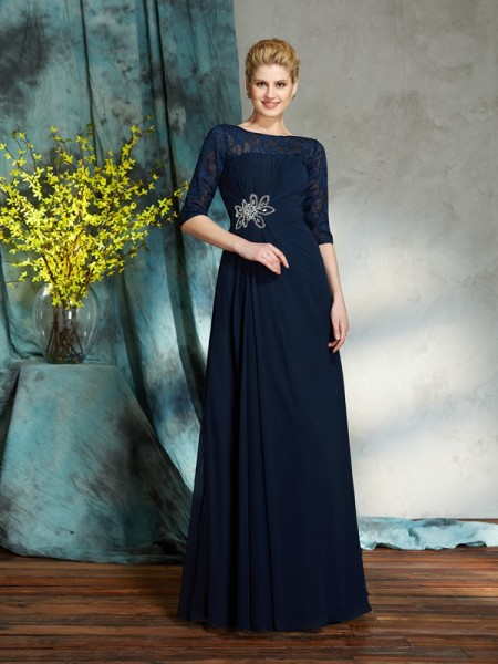 A-Line/Princess Bateau Beading 1/2 Sleeves Chiffon Mother of the Bride Dress
