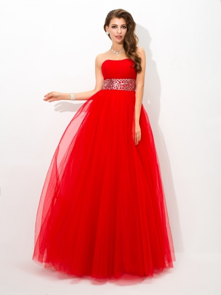 Ball Gown Strapless Beading Long Net Quinceanera Dress