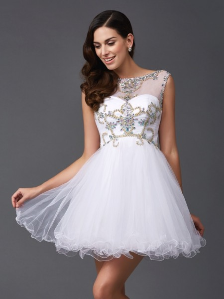 A-Line/Princess Scoop Beading Short Net Dress