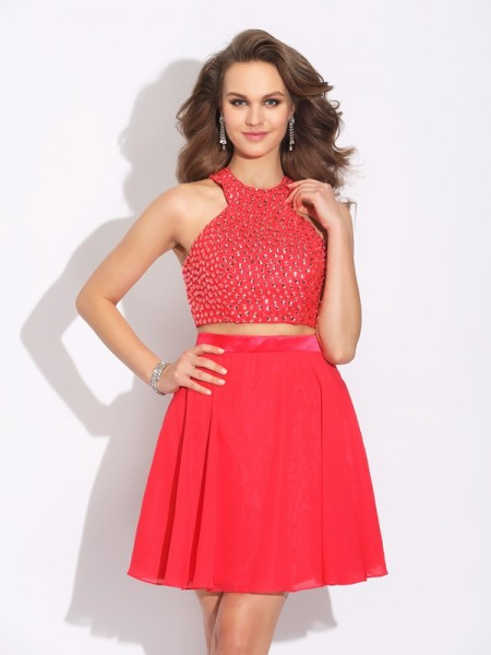 A-Line/Princess Jewel Crystal Short Chiffon Two Piece Dress