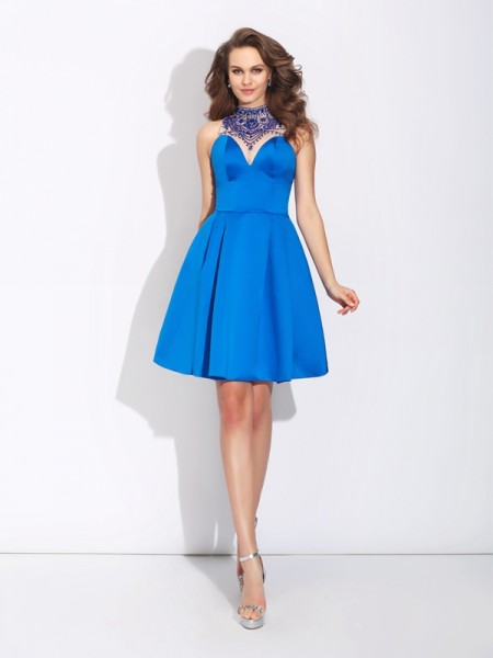 A-Line/Princess High Neck Beading Satin Dress