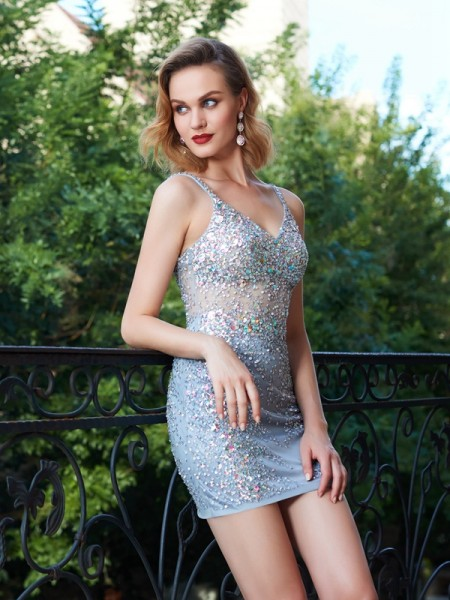 Sheath/Column Spaghetti Straps Net Sequin Short/Mini Dress